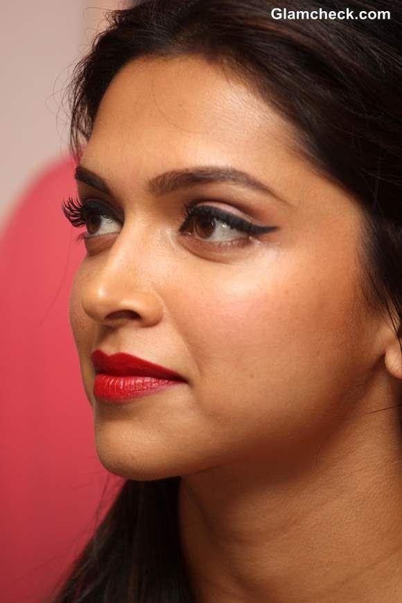 Deepika Padukone. Winged eyeliner and red lips makeup