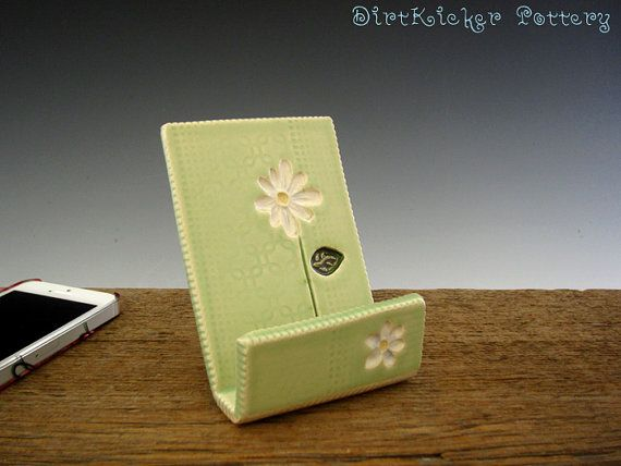 Cell Phone Stand in Lime Green with White Daisy - Iphone Stand / Holder - Ipod Stand - by DirtKiker Pottery