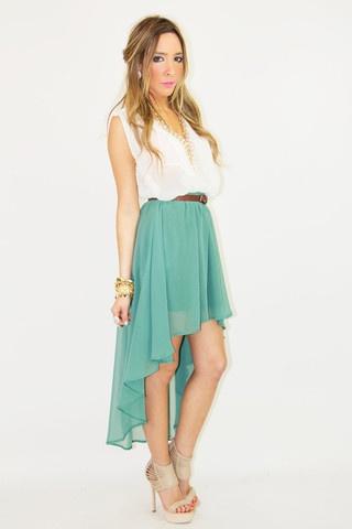 hi-low mint skirt