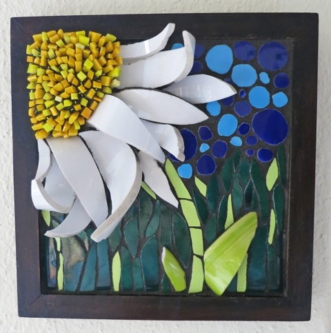 """'Daisy Patch' 8""""x 8"""" mosaic by Nikki Inc Mosaics created for Camille's Appeal project www.eightbyeight.org/"""