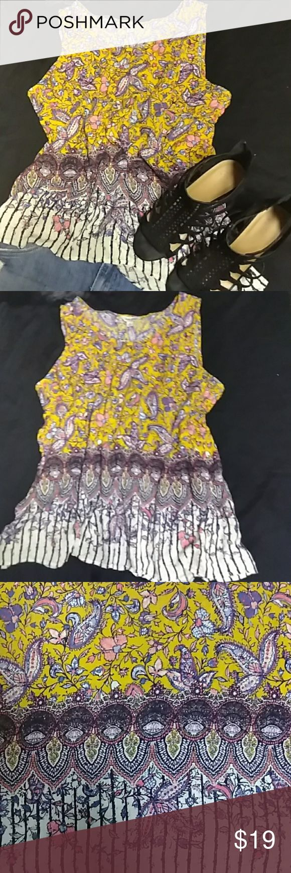 Lucky Brand Boho Fly Away Back Tank XL. Lucky Brand Boho Fly Away Back Tank XL. This Tank Is A Stand Out Piece And Would Look Amazing Indigo Blue Shoes. Perfect For All Seasons. In Winter And Fall Pair With Jeans And A Fly Away Sweater Or Jacket. In The Spring And Summer Style With A Denim Mini Skirt Or Shorts.This Would Be A StandOut Addition To Your Wardrobe. Worn Once. Excellent Condition. Lucky Brand Tops Tank Tops