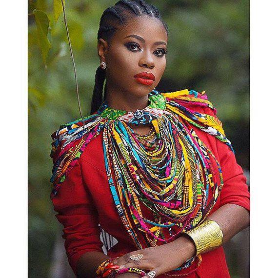 Ankara exquisite statement multistrand necklace by DEAFRICANSHOP ~African fashion, Ankara, kitenge, African women dresses, African prints, Braids, Nigerian wedding, Ghanaian fashion, African wedding ~DKK