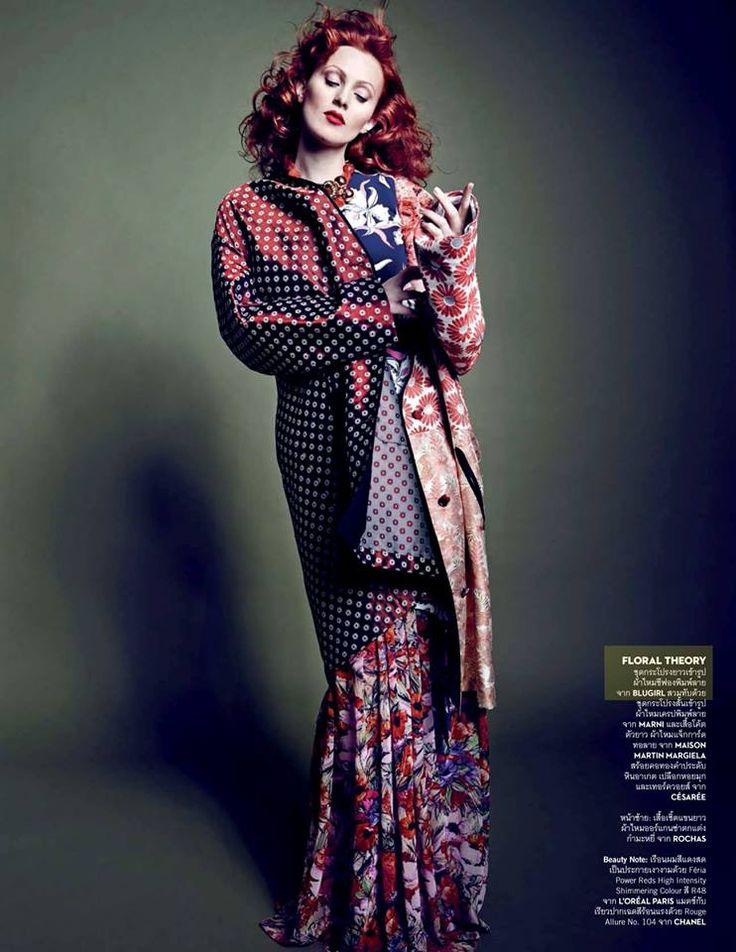 Best Editorials - Blugirl Spring Summer 2015 • Karen Elson in a chiffon floral printed dress. • VOGUE, Thailand - March 2015