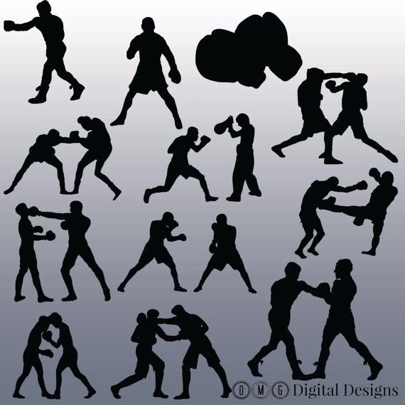 12 Boxing Silhouette Images Digital Clipart by OMGDIGITALDESIGNS