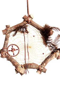 """Twig Spirit Dream Catcher -  12"""" Twig Dream Catcher with Medicine Wheel. All handcrafted with naturual material. -http://www.indianvillagemall.com/dreamcatchers/twigdreamcatchers.html"""