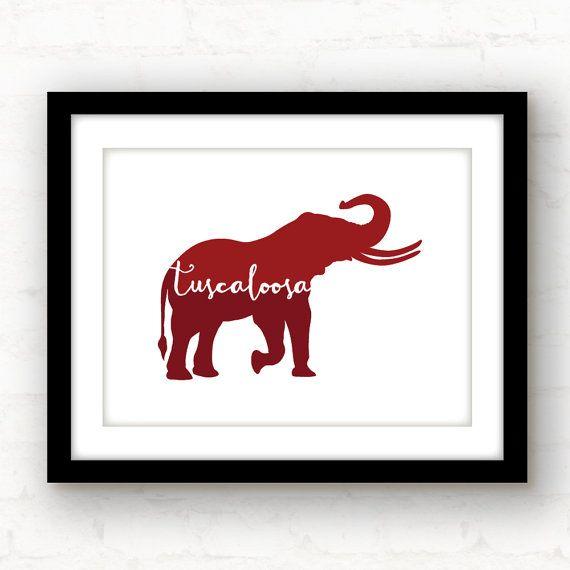 Tuscaloosa Alabama elephant print  hand by PaperFinchDesign