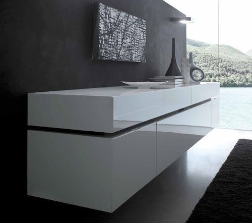 Contemporary wall mounted lacquered sideboard LOUNGE Rossetto Armobil
