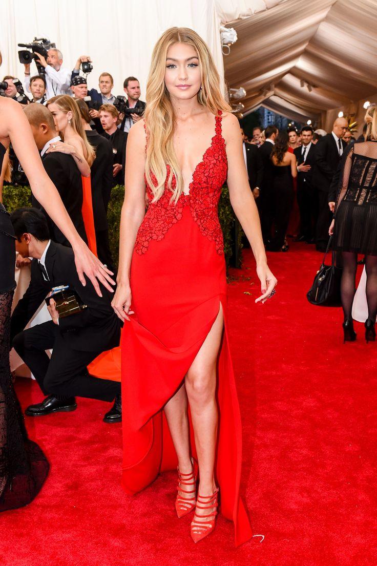 Gigi Hadid At The 2015 Met Gala Red White Amp Blonde