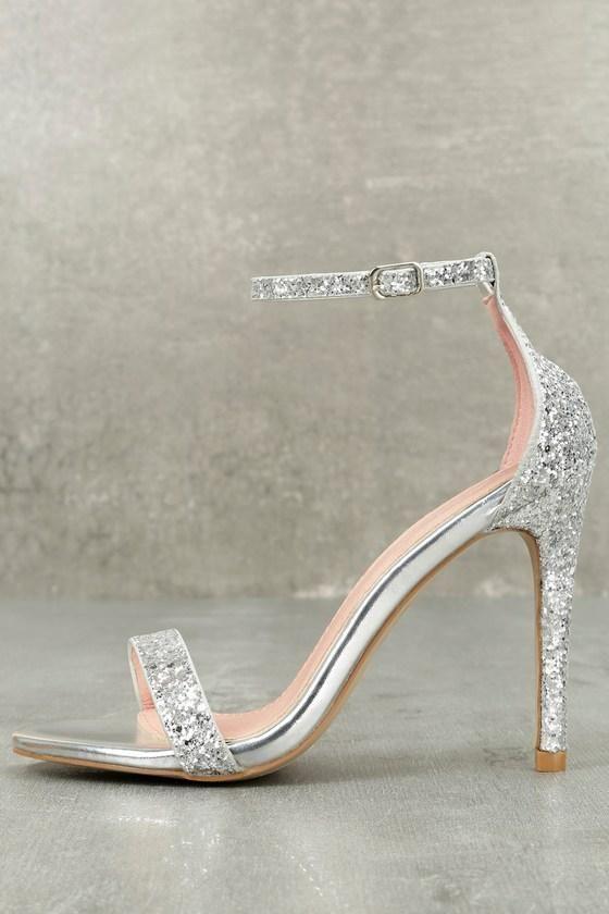 1a40e536165  Lulus -  Lulus Bella Marie - Fitz Silver Glitter Ankle Strap Heels - Size  10 - Lulus - AdoreWe.com