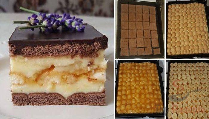 Es gibt nichts Besseres als ein süßes Dessert ohne Backen mit Vanillepudding, Butterkeksen, Bananen und einer luxuriösen Schokoladenglasur, die beim Anschneiden nicht bricht.