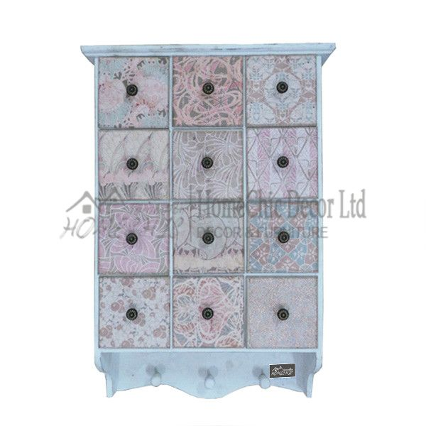 White shabby chic collage cabinet drawers