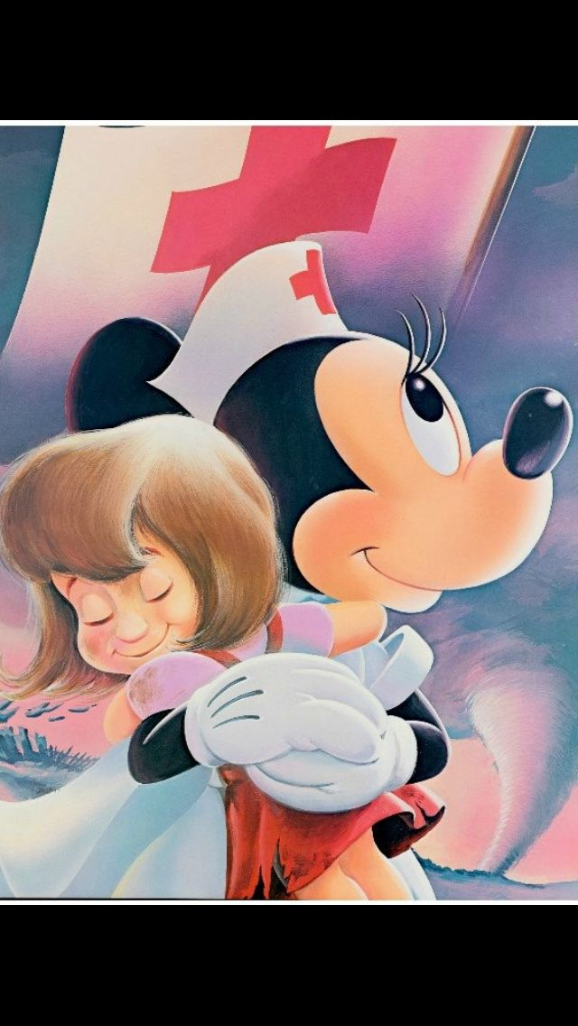 Nurse Minnie Mouse hugging a young child after the child's recovery. What a great way to celebrate Nurse's Day