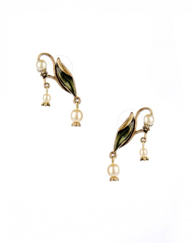 Art Nouveau Lily of the Valley Earrings