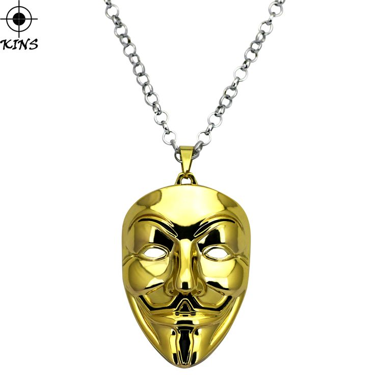 KINS 2017 New Hip Hop Style V For Vendetta Mask Face Big Pendant Long Chain Necklace For Men And Women Movie Role Jewelry A00200