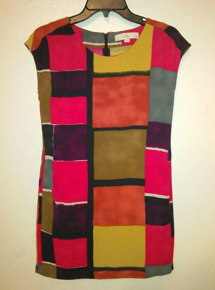 Anne Taylor Loft Block Pocket Multi-Color Womens Dress Petites Size 0P #AnnTaylorLOFT