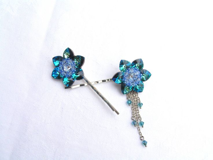 Lotus - Blue Azure hair pins  --    Elegant pins all ceremonial hairstyle.