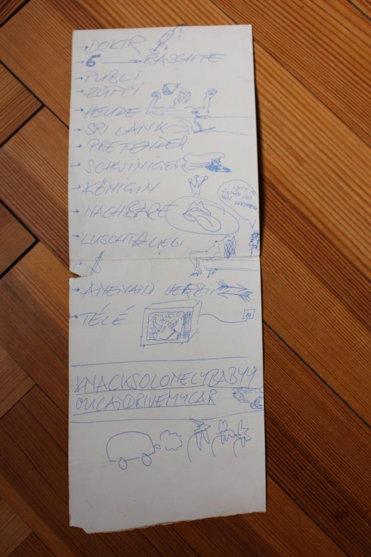 «Setliste Kuno Lauener» Zu sehen in der Ausstellung «Oh Yeah! Popmusik in der Schweiz» im Museum für Kommunikation. Eine Reise durch das Abenteuer Schweizer Popmusik von den 1950ern bis heute.