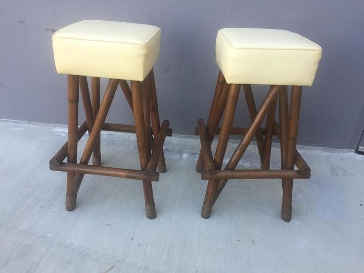 Vintage Pair Of Mid Century Tiki Rattan Bamboo Bent Wood Unique Bar Stools