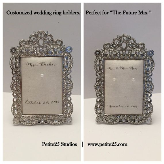 Wedding ring holder rectangle diamond frame: engagement ring holder, bridal shower gift, for her, ring stand