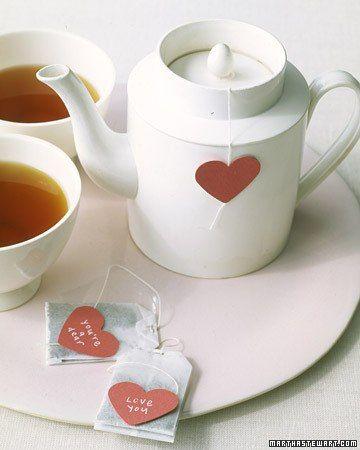 Heart-shaped tea bag tags
