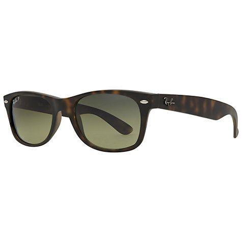 Buy Ray-Ban RB2132 New Wayfarer Polarised Sunglasses, Matte Havana Online at johnlewis.com