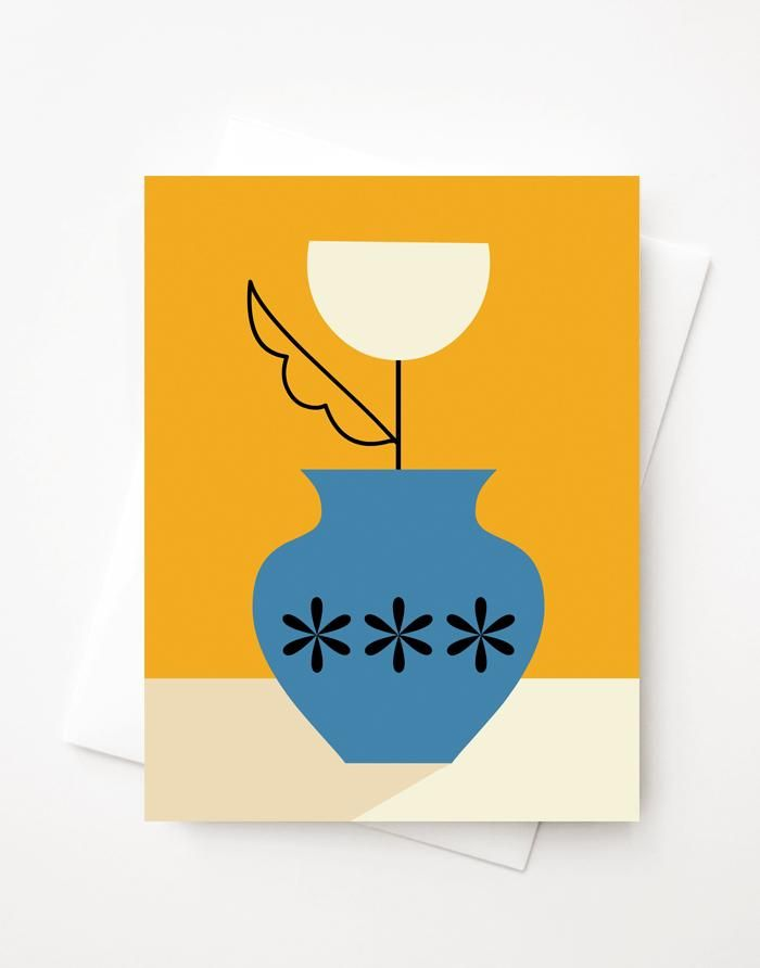 Tulip Vase Blank A2 Greeting Card With Envelope Tulips In Vase