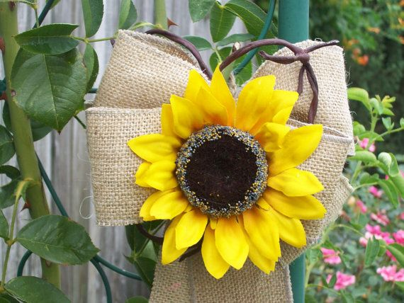Burlap and Sunflower Pew Bows, Country Wedding Decor, Rustic Wedding, Sunflower Wedding, Burlap Wedding Decor on Etsy, $12.50