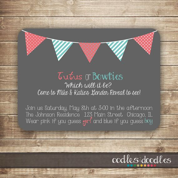 Gender Reveal Invitation / Baby Shower Invitation / Pink And Turquoise    Printable