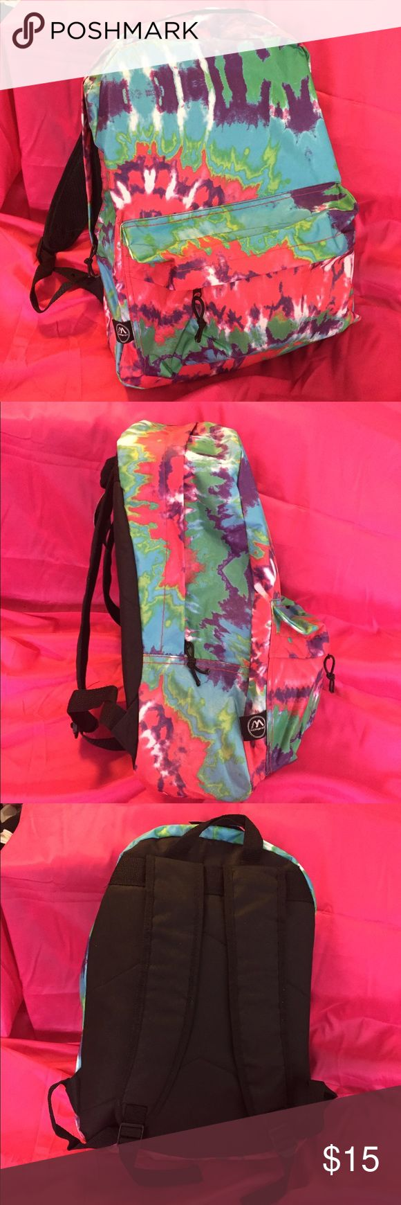 NEW tie dye backpack Brand new, never used tie dye backpack. Pack dimensions below. Adjustable straps, headphones hole with inner pocket. Really cute bag for school, travel, or music festivals.   Main compartment: 12w 16.5h 5d Pocket 10w 7h 1.5d  Not Forever 21, but for exposure. Also: UNIF / Charlotte Russe / Victoria's Secret / PINK / Urban Outfitters / iheartraves / little black diamond / oceanmoon / rave with mi gente / rave / festival / hippie / boho / trippy / edc / ultra / rainbow…