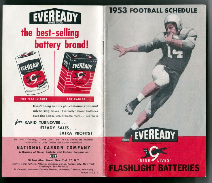 1953 EVEREADY BATTERIES NFL AND COLLEGE FOOTBALL SCHEDULE BOOKLET FREE SHIPPING #FOOTBALL