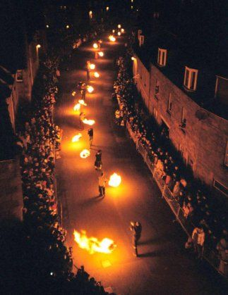 Stonehaven, this is the crazy New Year's fire festival that I would love to go to. They march down the main street swinging huge lit balls of fire, while hundreds of spectators watch and hope these things don't get hurled into the crowd!