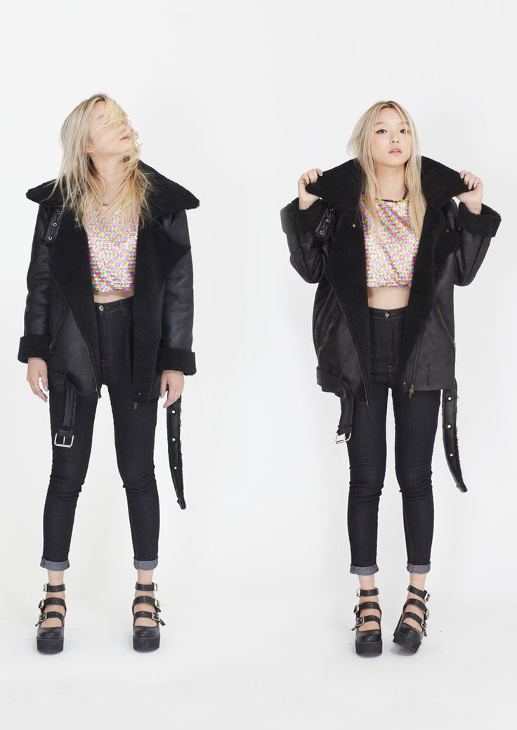 Winter Sheepskin Biker Jacket | Oversized Coats & Jackets ...