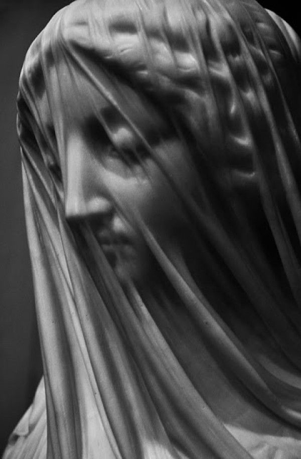 """""""The Veiled Virgin"""" = Carved & sculpted from Carrara marble in Rome by Italian sculptor Giovanni Strazza"""