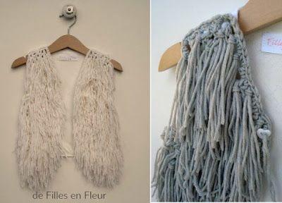 Chaleco de rejilla crochet con flecos