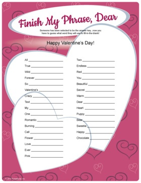 Finish My Phrase Dear   Valentineu0027s Day Game