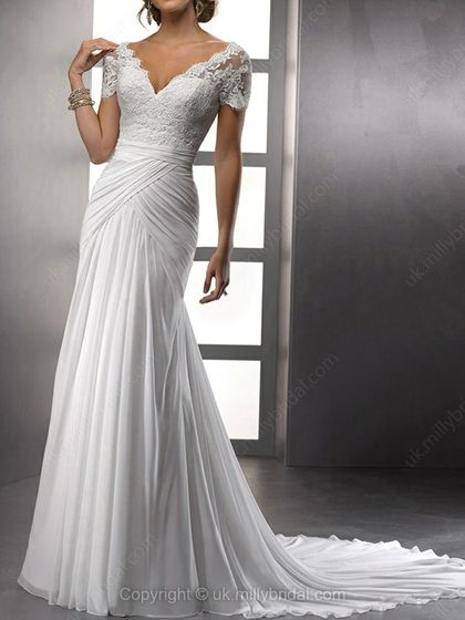 Sheath/Column V-neck Chiffon Chapel Train White Appliques Wedding Dresses -USD$269.96