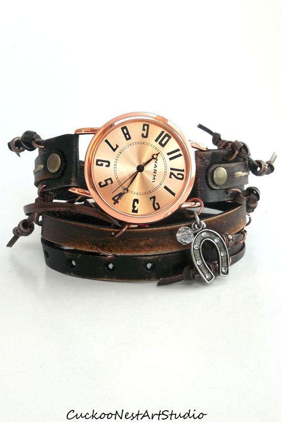 Rustic Wrap Watch, Womens leather watch, Bracelet Watch, Wrist Watch, Brown Wrap watch @Amanda Hatfield