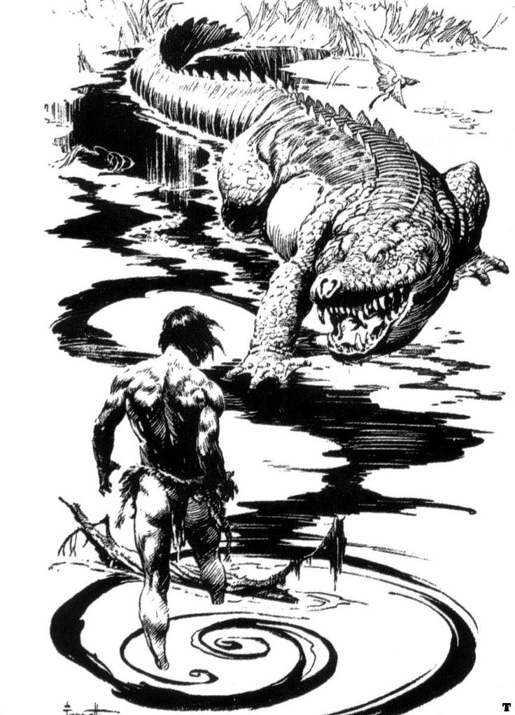 Tarzan Against the Alligator - Frank Frazetta