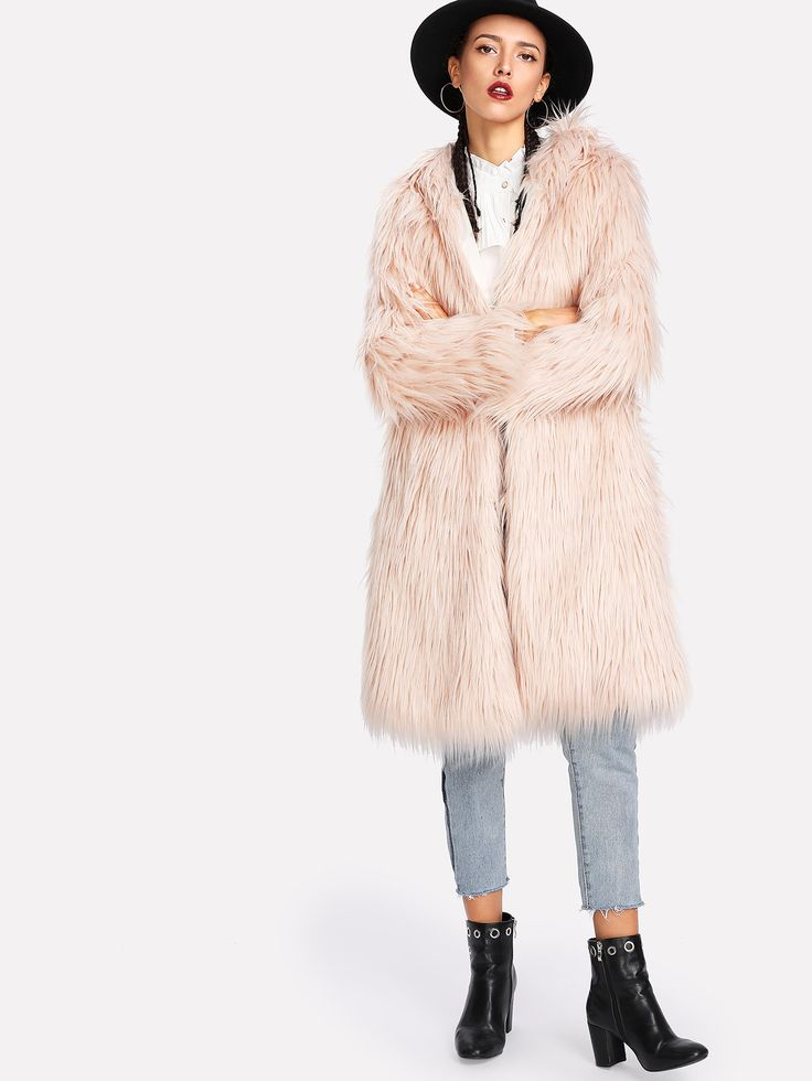 Shop Faux Fur Hooded Coat online. SheIn offers Faux Fur Hooded Coat & more to fit your fashionable needs.