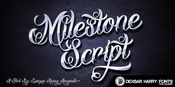DHF Milestone Script Demo font by Dexsar Harry Anugrah - FontSpace