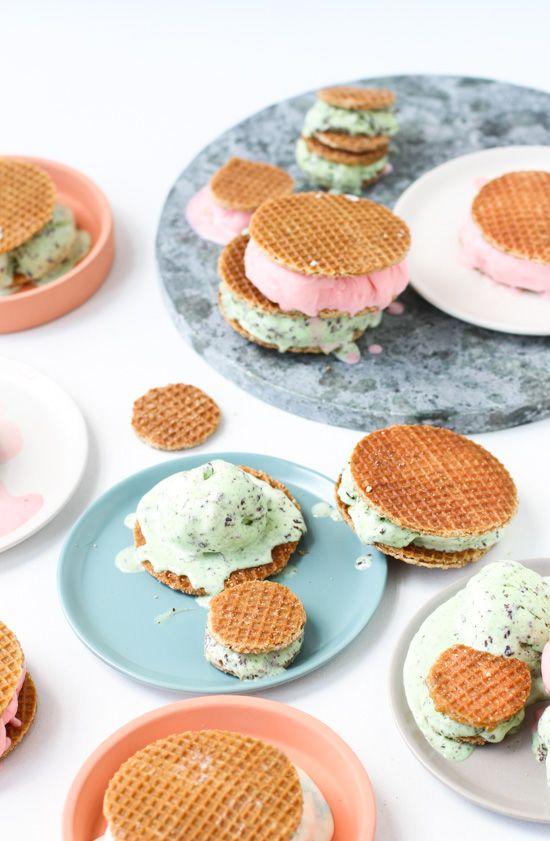 Dutch Stroopwafel Ice Cream Sandwiches