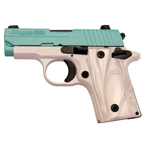 New Sig Sauer P238 Robins Egg Blue .380 acp $649 - http://www.gungrove.com/new-sig-sauer-p238-robins-egg-blue-380-acp-649/