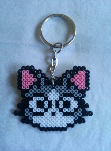 Llavero gato hama beads