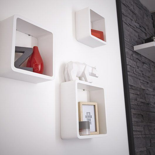 Etagère 3 cubes blanc-blanc : L 28 x P 28, L 24 x P 24, L 21 x P 21 cm Ep.15 mm