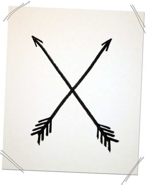 Painting these crossed arrows huge for above the TV. They represent friendship. An arrow pointing right represents protection and an arrow pointing left represents warding off evil.