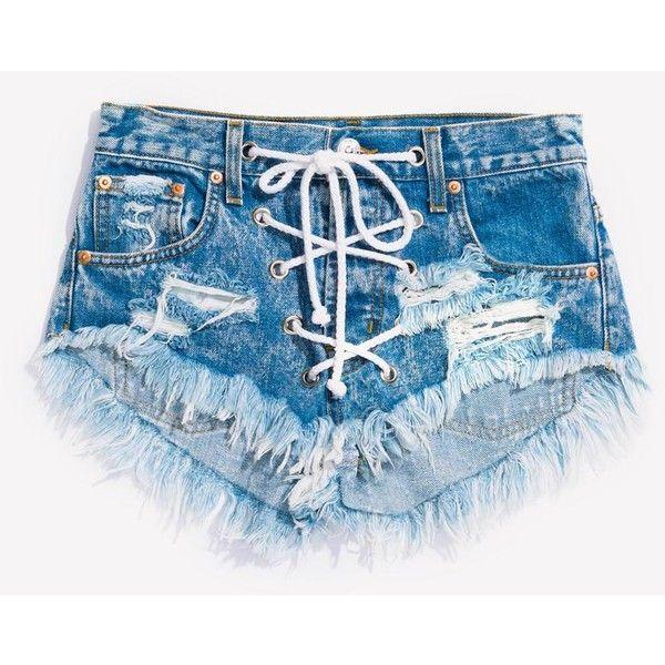 Rodeo Lace Up Acid Babe Shorts ❤ liked on Polyvore featuring shorts, frayed shorts, acid wash shorts, lace up shorts, distressed shorts and ripped shorts