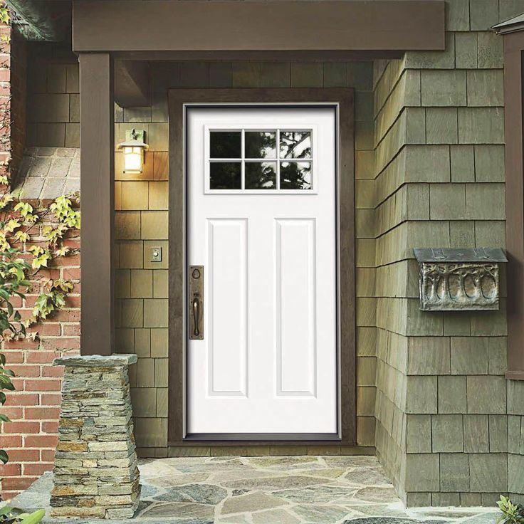 Jeld wen in x in 6 lite craftsman primed for Home depot front doors with sidelights