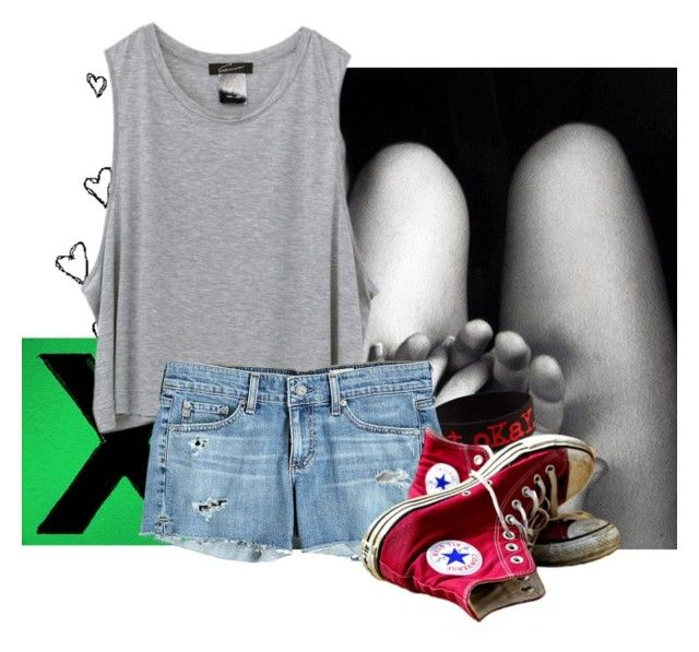 """""""Love casuality"""" by fabiennes ❤ liked on Polyvore featuring AG Adriano Goldschmied, Converse and love"""