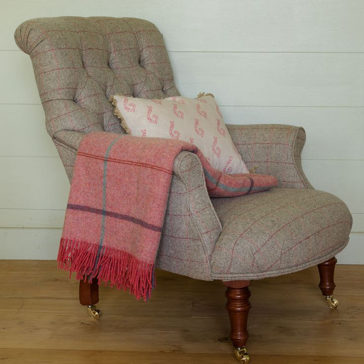 Missoni Fabric Covered Bergere Chair: Armchair - Handmade Fabric Covered Button Backed