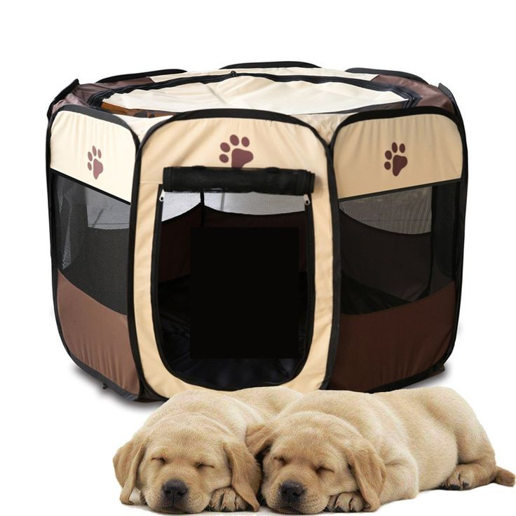 Luniquz Portable Dog Pen Fabric Pet Playpen with Removable Mesh Cover 8 Panels Fold-flat Steel Frame Durable Fabric Ultra Lightweight Coffee M: 90x60x36cm